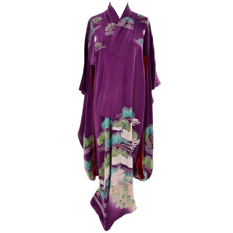 Purple Vintage Silk Kimono Furisode Style Yuzen dyed Pine Trees & Cranes w/ Mons 2