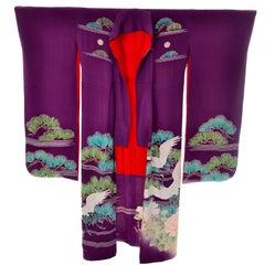 Purple Vintage Silk Kimono Furisode Style Yuzen dyed Pine Trees & Cranes w/ Mons
