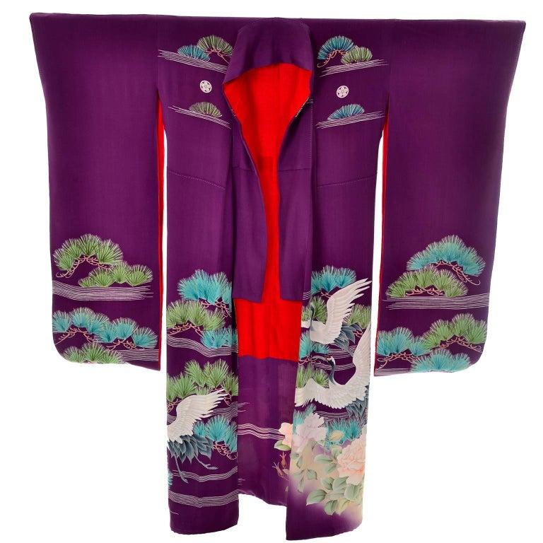 Purple Vintage Silk Kimono Furisode Style Yuzen dyed Pine Trees & Cranes w/ Mons 1