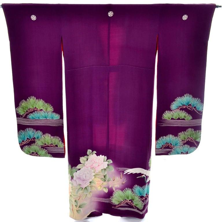 Purple Vintage Silk Kimono Furisode Style Yuzen dyed Pine Trees & Cranes w/ Mons 3