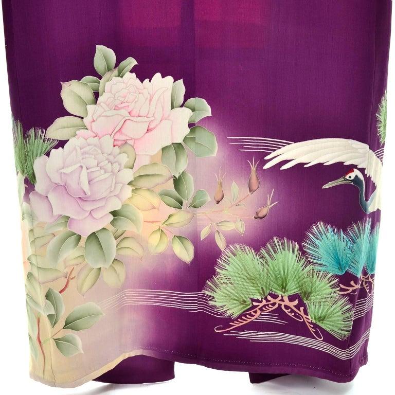 Purple Vintage Silk Kimono Furisode Style Yuzen dyed Pine Trees & Cranes w/ Mons 4