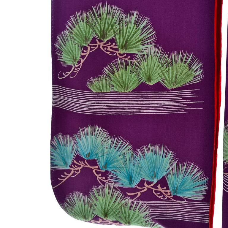 Purple Vintage Silk Kimono Furisode Style Yuzen dyed Pine Trees & Cranes w/ Mons 6