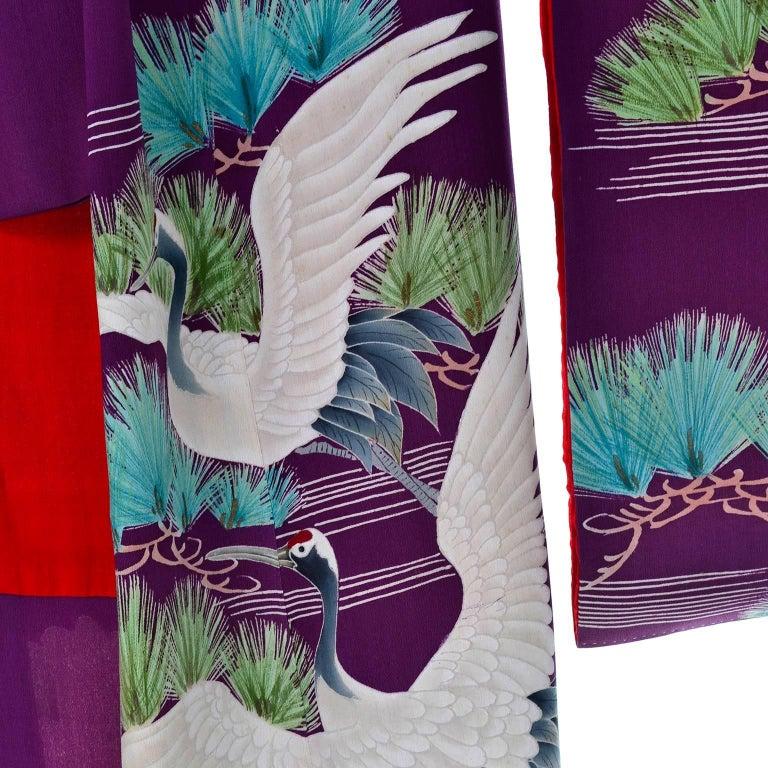 Purple Vintage Silk Kimono Furisode Style Yuzen dyed Pine Trees & Cranes w/ Mons 5