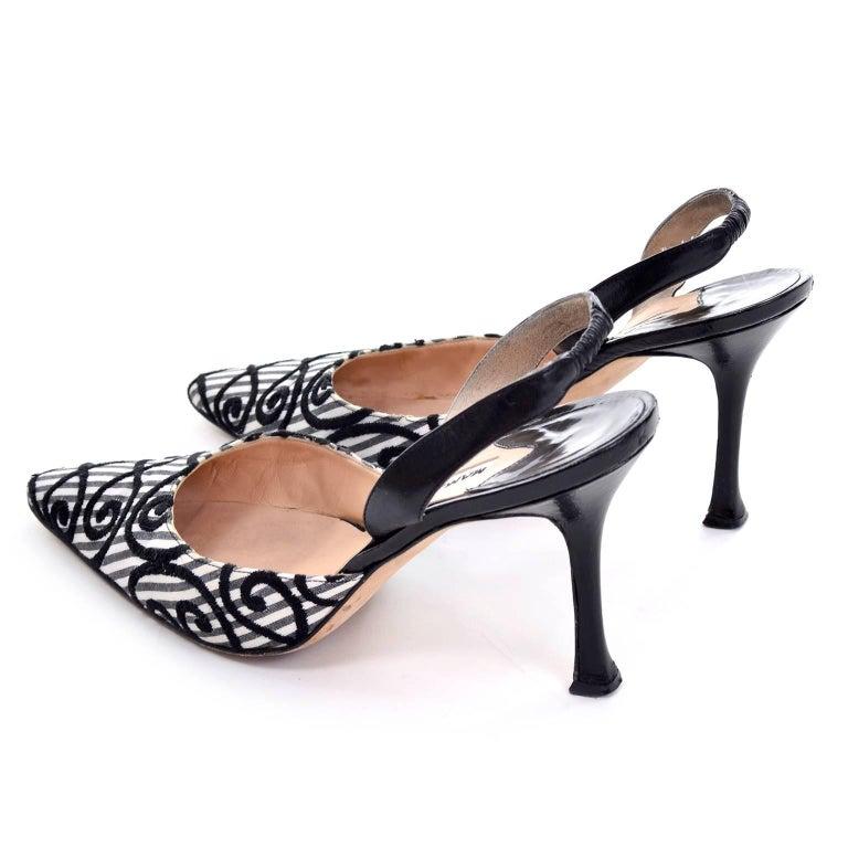 Women's Manolo Blahnik Carolyne Sling Back Shoes in Black & White Swirls Size 37.5 For Sale