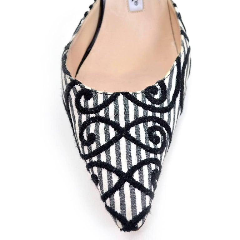 Manolo Blahnik Carolyne Sling Back Shoes in Black & White Swirls Size 37.5 For Sale 1