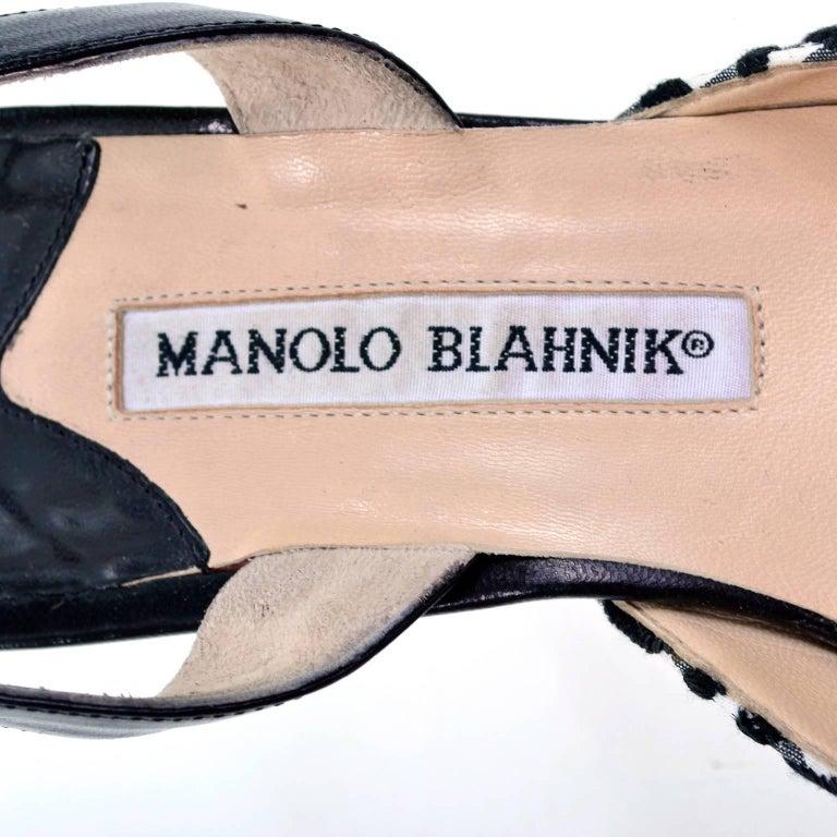 Manolo Blahnik Carolyne Sling Back Shoes in Black & White Swirls Size 37.5 For Sale 4
