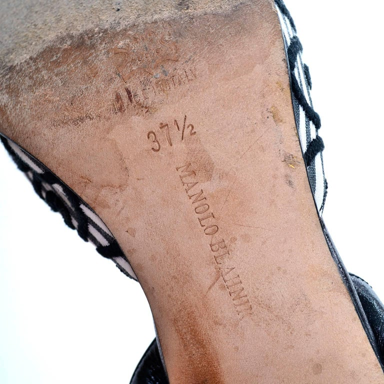 Manolo Blahnik Carolyne Sling Back Shoes in Black & White Swirls Size 37.5 For Sale 5