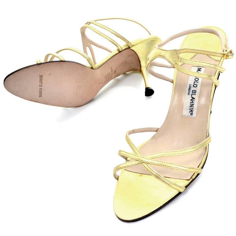 Women's 1980s Manolo Blahnik London Shoes Rare Vintage gold Metallic Strappy Heels 39 For Sale