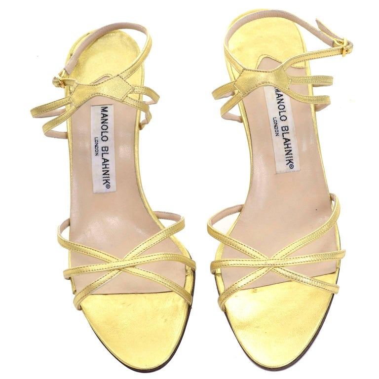 Gold 1980s Manolo Blahnik London Shoes Rare Vintage gold Metallic Strappy Heels 39 For Sale