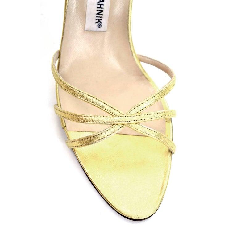 1980s Manolo Blahnik London Shoes Rare Vintage gold Metallic Strappy Heels 39 For Sale 1
