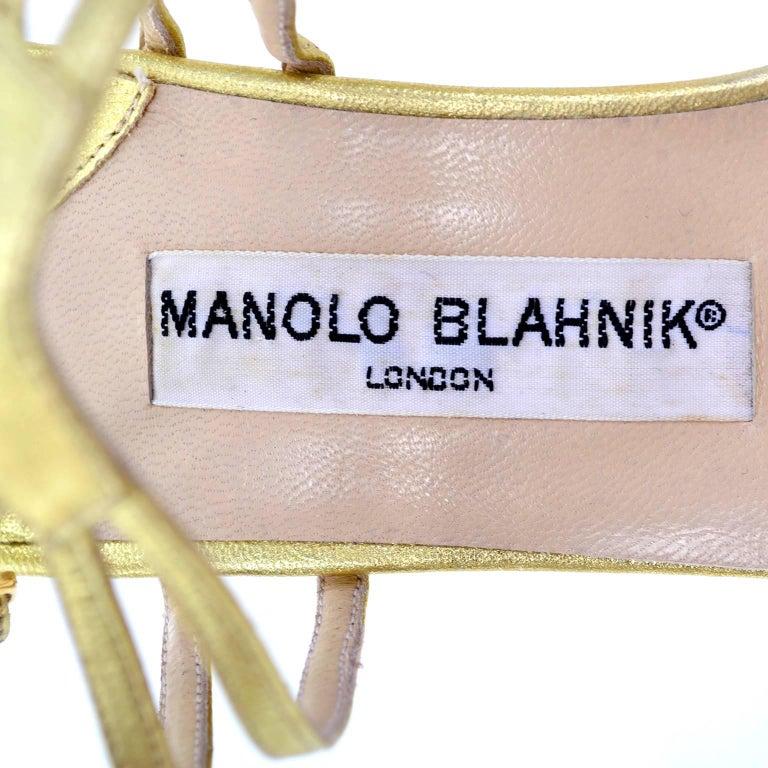 1980s Manolo Blahnik London Shoes Rare Vintage gold Metallic Strappy Heels 39 For Sale 2