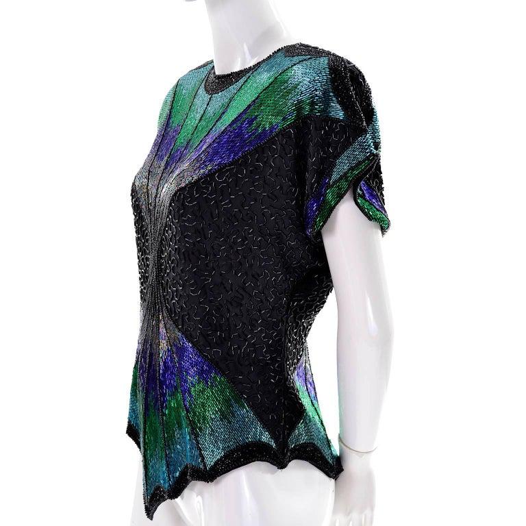 Oleg Cassini Dramatic Vintage Beaded Blue Purple Green and Black Evening Top 5