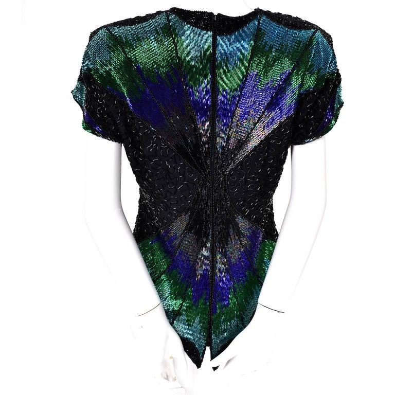 Oleg Cassini Dramatic Vintage Beaded Blue Purple Green and Black Evening Top 6
