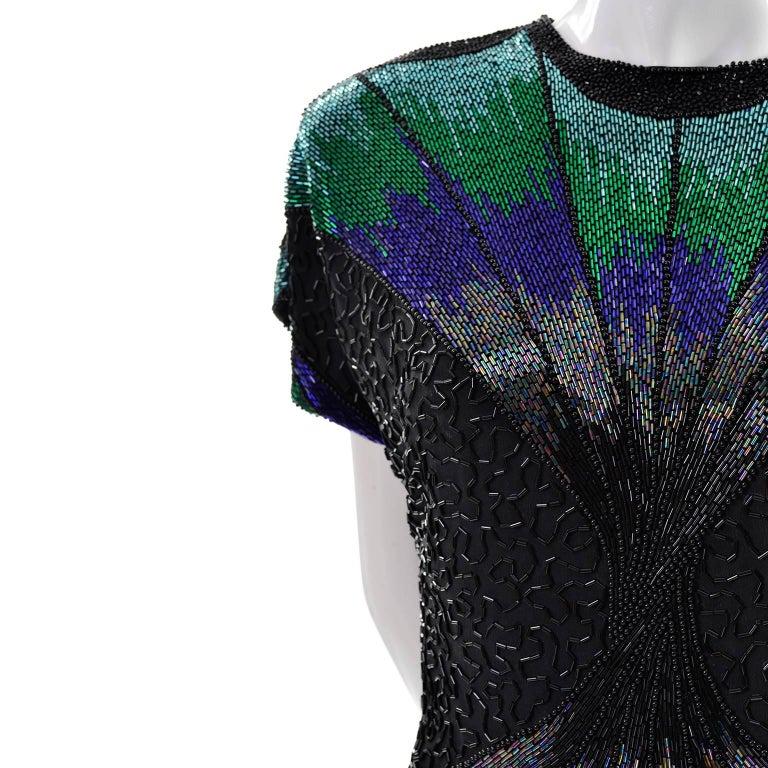 Oleg Cassini Dramatic Vintage Beaded Blue Purple Green and Black Evening Top 4