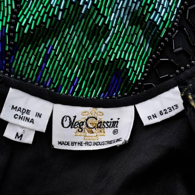 Oleg Cassini Dramatic Vintage Beaded Blue Purple Green and Black Evening Top 7