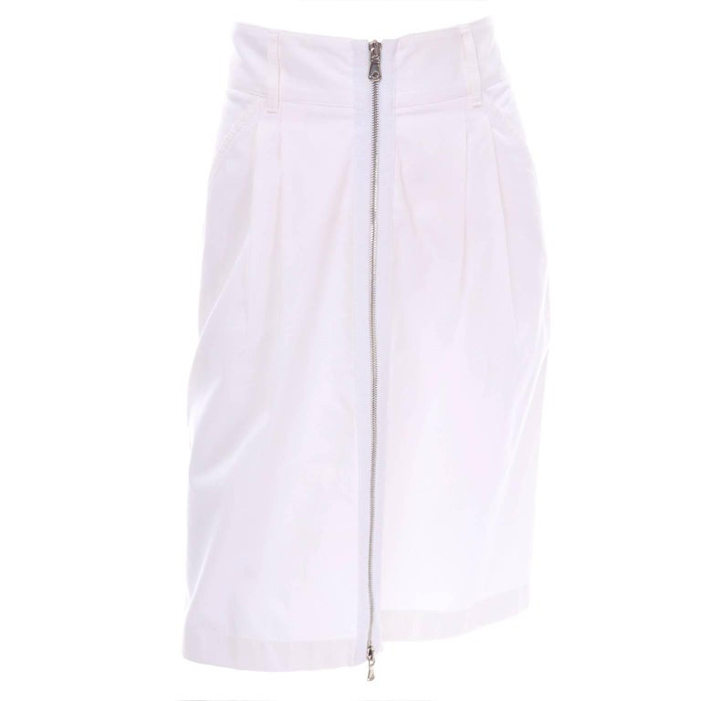 Dolce & Gabbana White Cotton Denim Pencil Skirt W/ Exposed Zipper Size 6