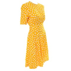 Unlabeled Couture Silk Vintage Dress in a Sunny Yellow and White Print