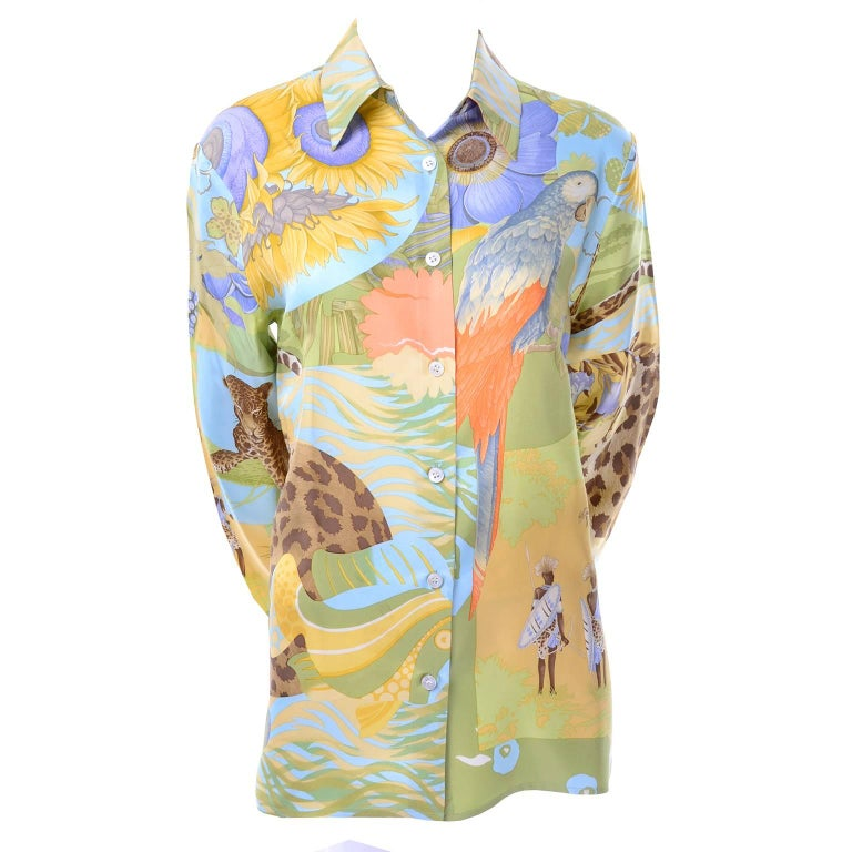 Vintage Salvatore Ferragamo Silk Blouse in Tropical Island Leopard Novelty Print For Sale