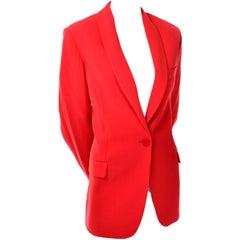 Giorgio Armani Le Collezioni Vintage Orange Red Wool Blazer Size 10
