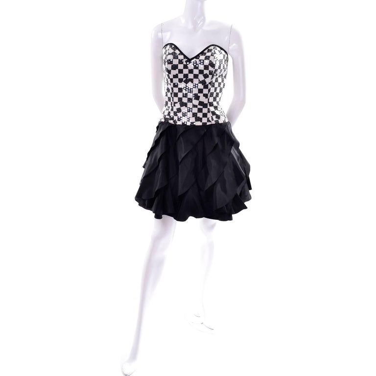 Lillie Rubin Vintage Black and Ivory Checked Sequined Strapless Dress,  1980s  For Sale 3