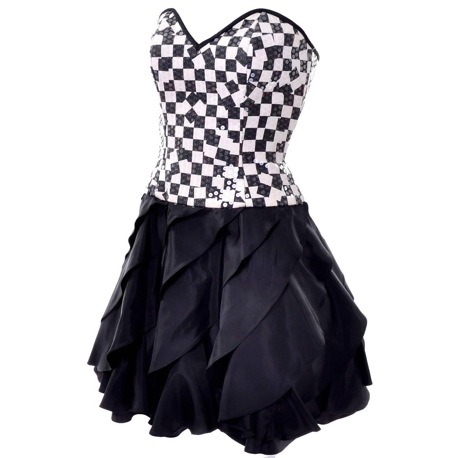 1563487bb5a80 Lillie Rubin Vintage Black and Ivory Checked Sequined Strapless Dress, 1980s