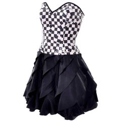 1980s Strapless Lillie Rubin Vintage Dress Black & Ivory Checked W/ Sequins