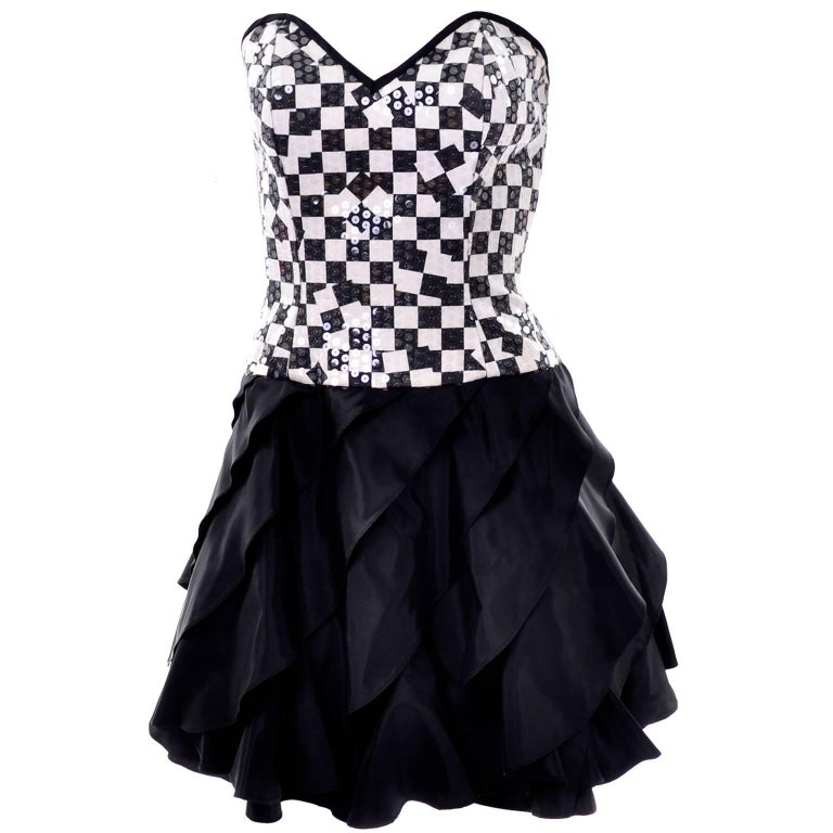 Lillie Rubin Vintage Black and Ivory Checked Sequined Strapless Dress,  1980s  For Sale 1