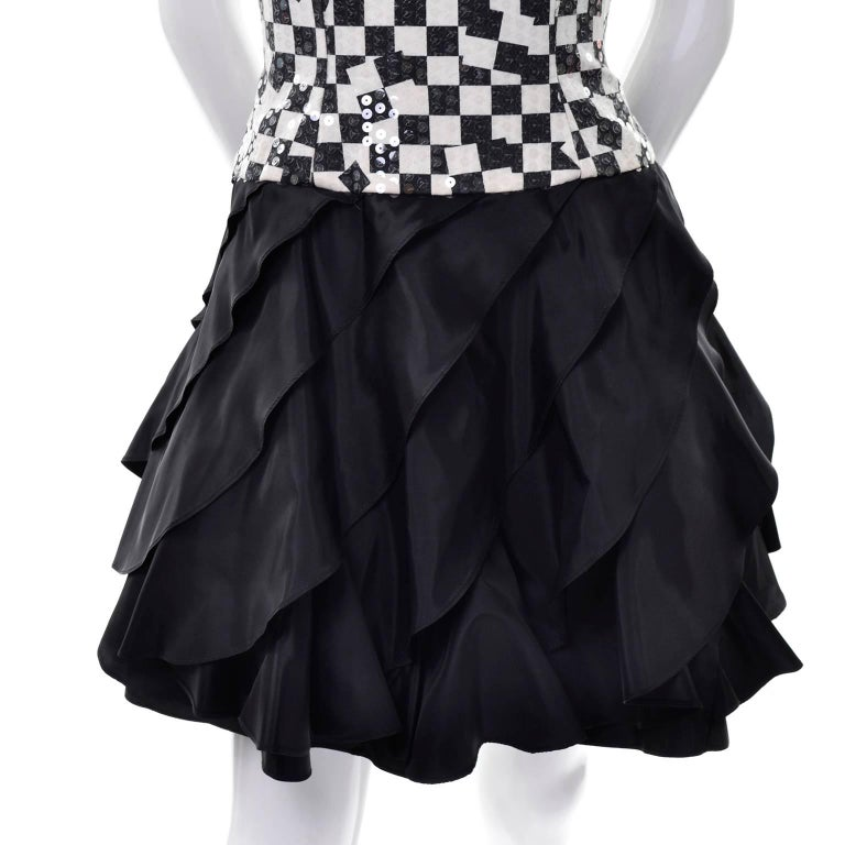 Lillie Rubin Vintage Black and Ivory Checked Sequined Strapless Dress,  1980s  In Excellent Condition For Sale In Portland, OR