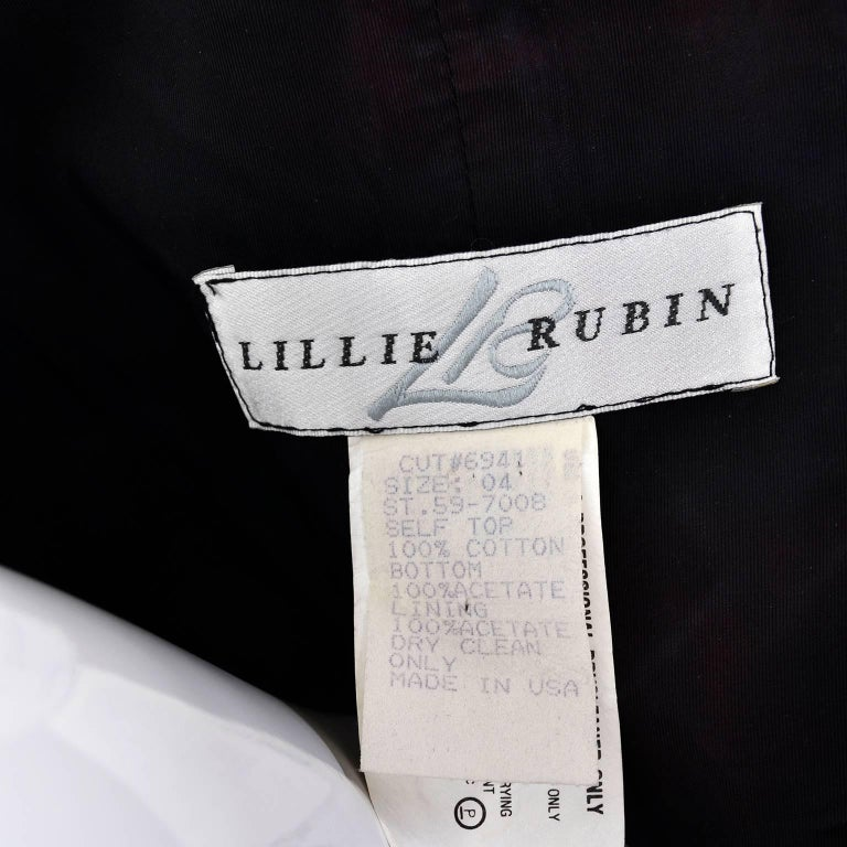 Lillie Rubin Vintage Black and Ivory Checked Sequined Strapless Dress,  1980s  For Sale 11