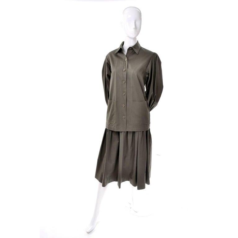 Women's YSL Yves Saint Laurent Vintage Olive Khaki Skirt & Jacket Safari Inspired Suit For Sale
