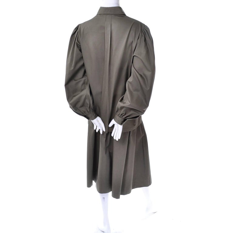 YSL Yves Saint Laurent Vintage Olive Khaki Skirt & Jacket Safari Inspired Suit For Sale 1