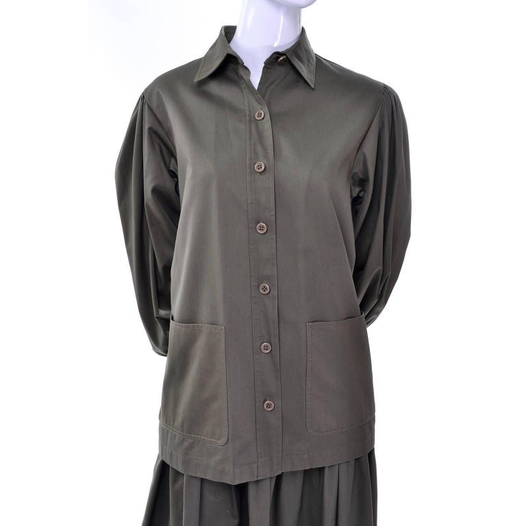 d707f3d3 YSL Yves Saint Laurent Vintage Olive Khaki Skirt & Jacket Safari Inspired  Suit