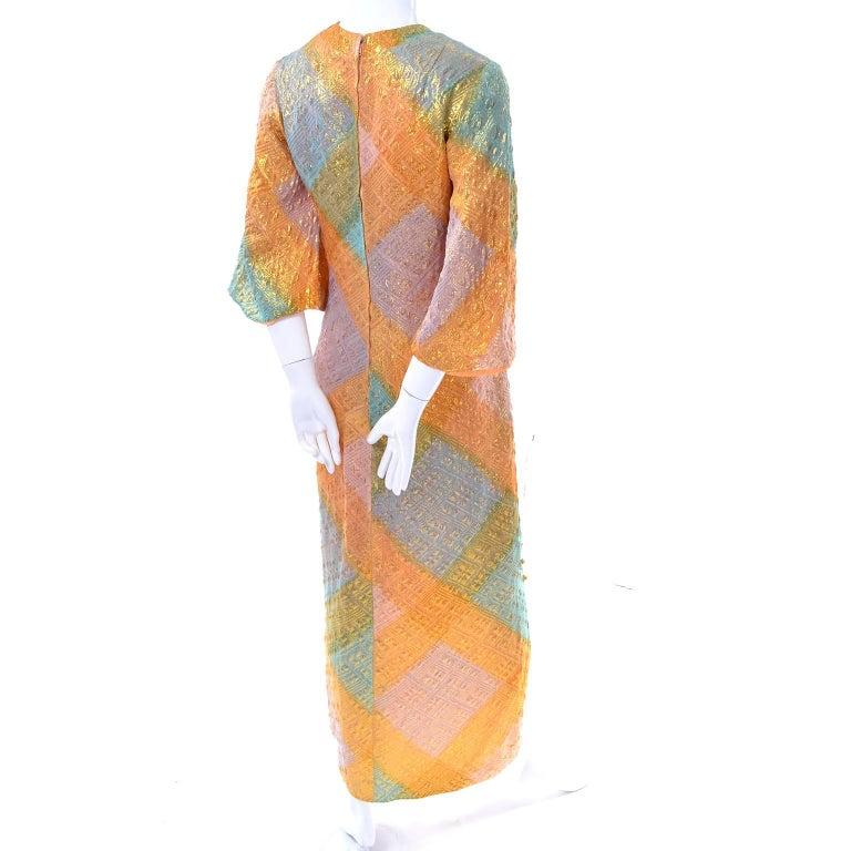 Women's 1960s Dynasty Vintage Caftan Dress in Metallic Gold Orange Blue & Pink  For Sale