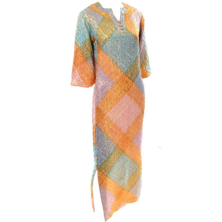 1960s Dynasty Vintage Caftan Dress in Metallic Gold Orange Blue & Pink  For Sale