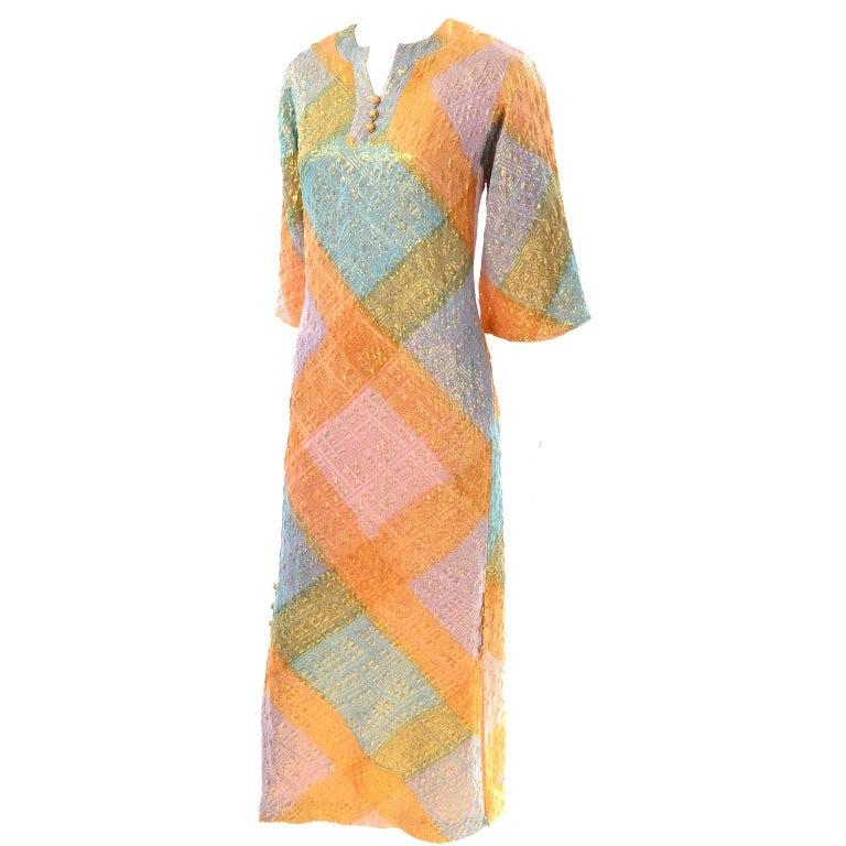 Beige 1960s Dynasty Vintage Caftan Dress in Metallic Gold Orange Blue & Pink  For Sale
