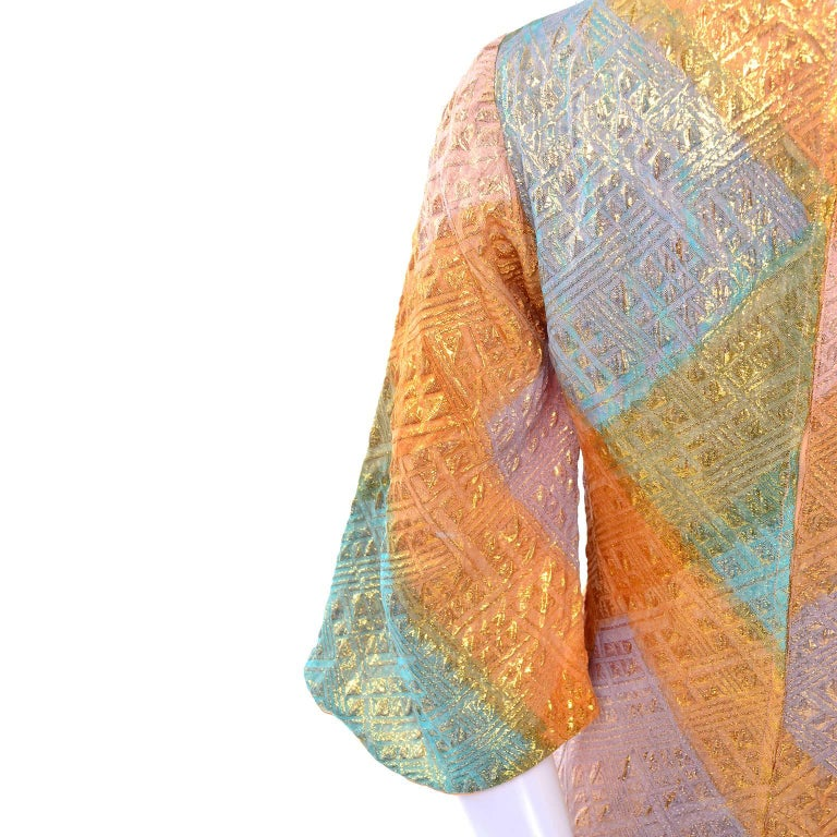 1960s Dynasty Vintage Caftan Dress in Metallic Gold Orange Blue & Pink  In Excellent Condition For Sale In Portland, OR