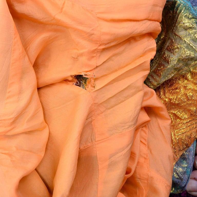 1960s Dynasty Vintage Caftan Dress in Metallic Gold Orange Blue & Pink  For Sale 2