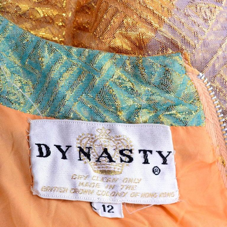1960s Dynasty Vintage Caftan Dress in Metallic Gold Orange Blue & Pink  For Sale 1