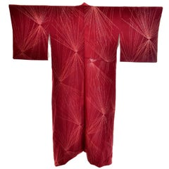 Vintage Rust Burgundy Silk Kimono w/ Gold Metallic Embroidery for Fall