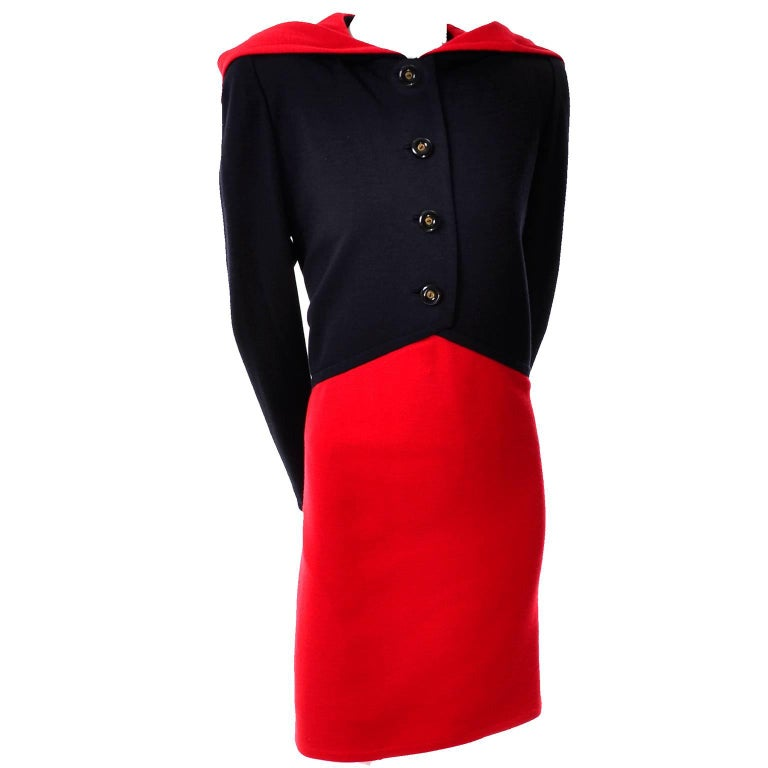 We love this vintage Givenchy haute couture wool knit dress in red and black with a red lined black hood attached!  The dress has buttons up the front, structured shoulder pads, and is fully lined.  This beautiful vintage dress was made in France