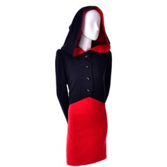 1980s Vintage Red & Black Givenchy Haute Couture Dress with Hood
