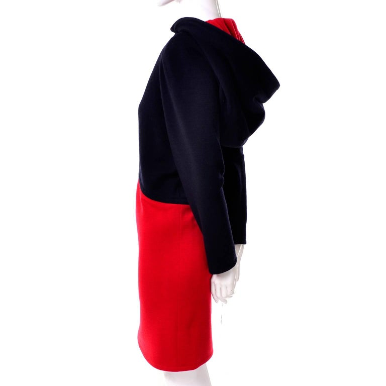 Women's 1980s Vintage Red & Black Givenchy Haute Couture Dress with Hood  For Sale