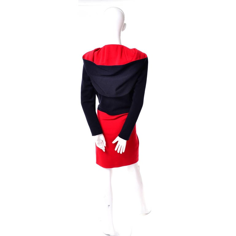 1980s Vintage Red & Black Givenchy Haute Couture Dress with Hood  For Sale 1