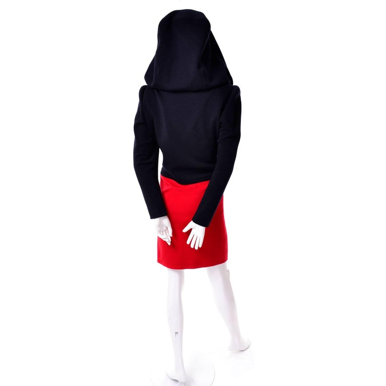 1980s Vintage Red & Black Givenchy Haute Couture Dress with Hood  For Sale 2