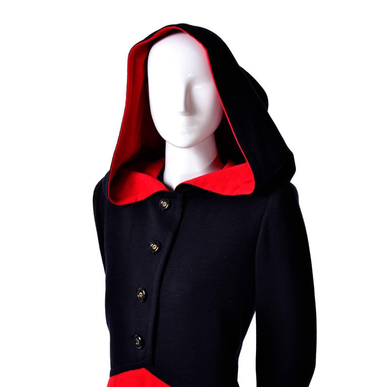1980s Vintage Red & Black Givenchy Haute Couture Dress with Hood  For Sale 3