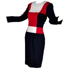 Scaasi 1980s Color Block Vintage Dress in Red Black and Cream