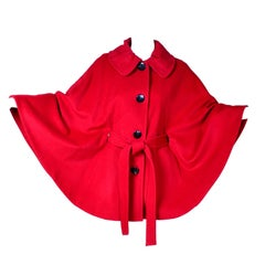 Cherry Red Vintage Ellen Tracy Wool Cape