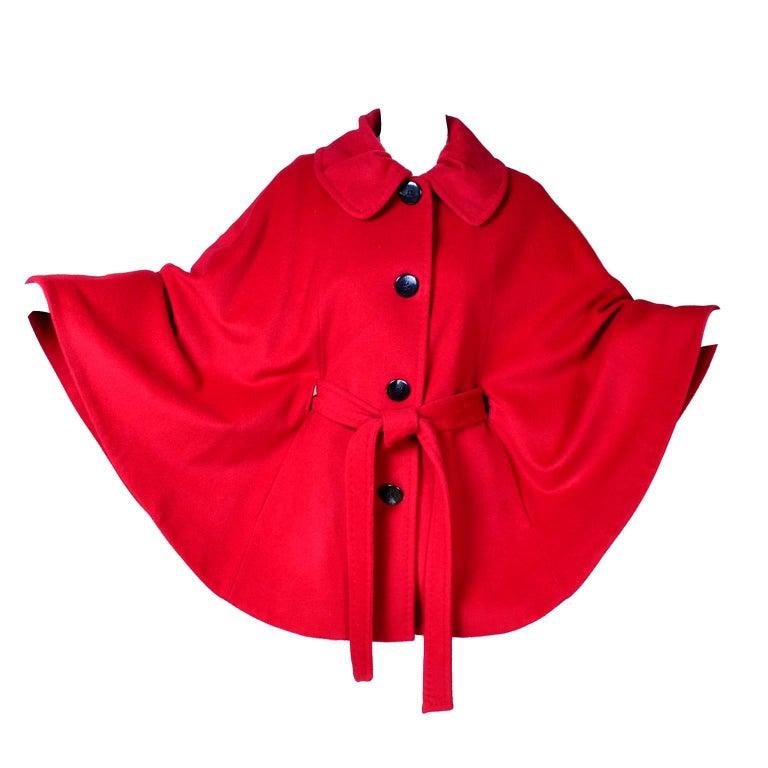 Cherry Red Vintage Ellen Tracy Wool Cape