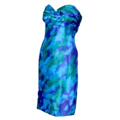 Loris Azzaro Paris Strapless Vintage Dress Blue Watercolor Silk