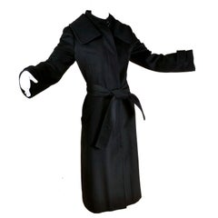 Dolce & Gabbana Vintage Black Cashmere & Wool Coat With Belt 8/10